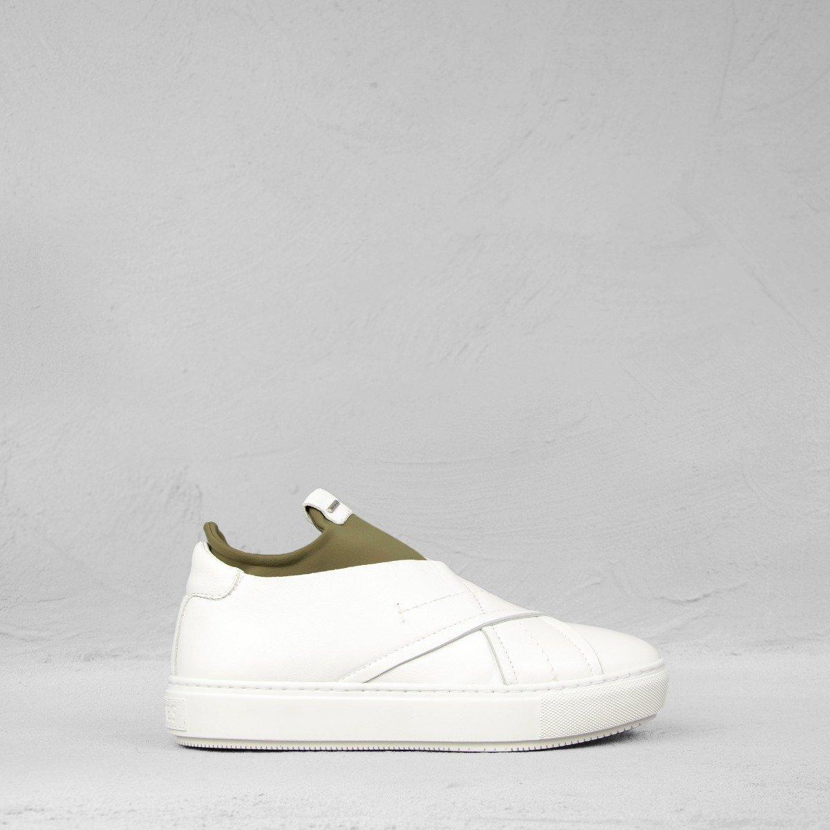 Shabbies Amsterdam Sneaker Chaussette Cuir Lisse Noir Olive hNrJHIDp