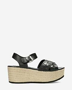 Sandal-Platform-sole-woven-band-black