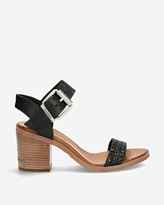 Black strappy sandal with ankle strap