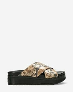 Slipper-python-printed-leather-camel