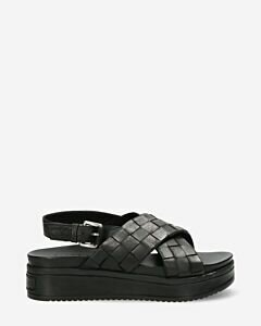 Sandal-woven-smooth-leather-Black