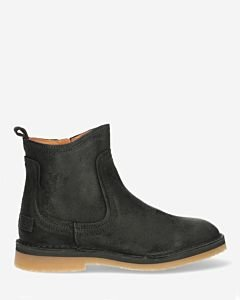 Ankle boot with zipper waxed suede black