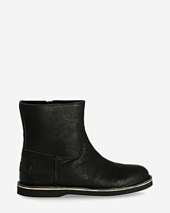 Ankle boot waxed grain leather black