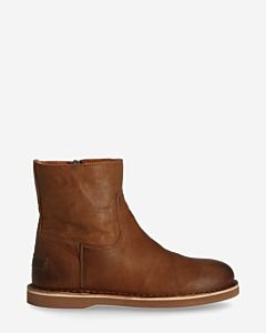 Lined Ankle boot waxed leather cognac
