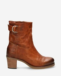 Heeled ankle boot grian leather cognac