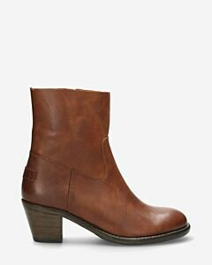 Ankle boot with zipper nappa leather cognac