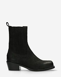 Ankle boot vegetable tanned leather black