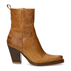Western-ankle-boot-with-zipper-mustard-brown