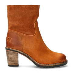 Shabbies Amsterdam Heeled ankle boot from waxed suede Cognac