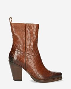 Western-ankle-boot-printed-leather-brown