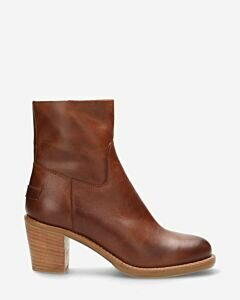 Ankle boot zipper nappa leathet cognac