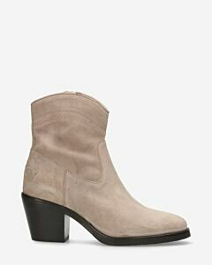 Ankle boot waxed suede light taupe