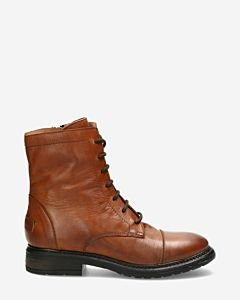 Lace up boot smooth leather cognac