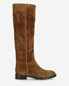 Shaft boot waxed suede warm brown