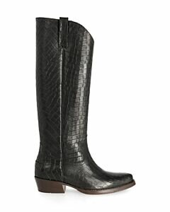 Boot croco printed leather black