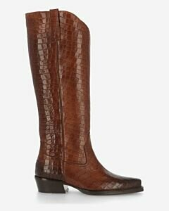 Boot croco printed leather cognac