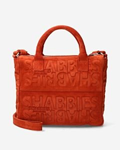 Terracotta-brown-suede-handbag-with-logo-print