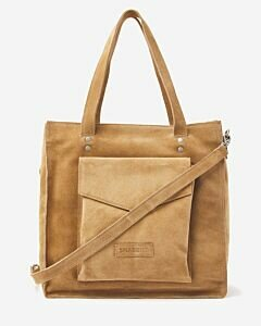 Shopping bag suede light brown