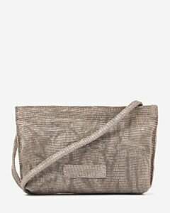 Cross body printed leather taupe