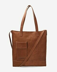 Shopping bag vegetable tanned leather cognac
