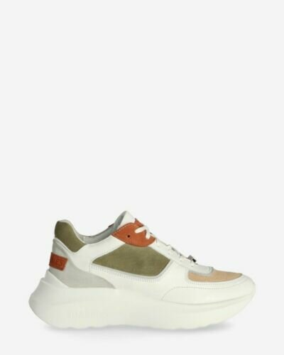 Sneaker suede and smooth leather soft green