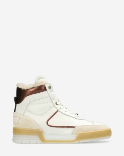 High sneaker leather-mix white/rose