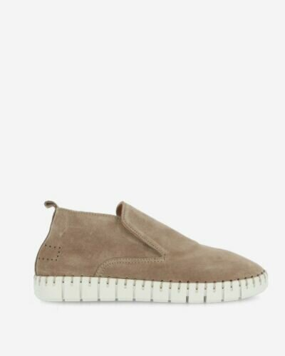 High loafers suede taupe