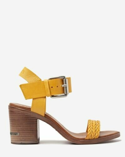Yellow strappy sandal with ankle strap