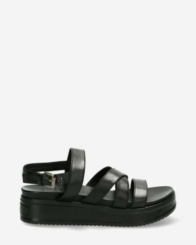 Sandal with covered wedge black
