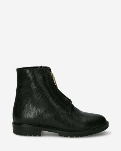 Black ankle boot with zipper on front