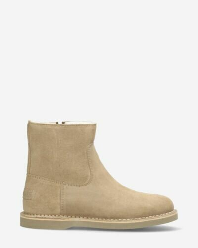 Lined ankle boot waxed suede dark sand