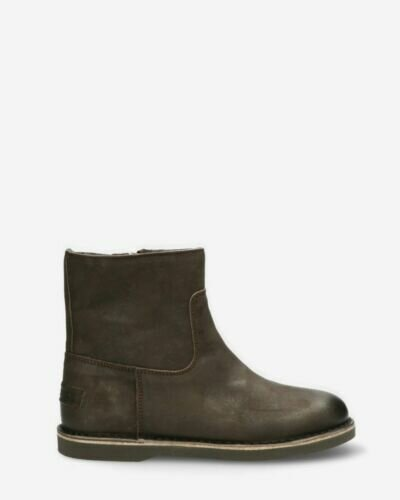 Lined ankle boot waxed leather anthracite