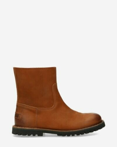 Wool lined ankle boot cognac