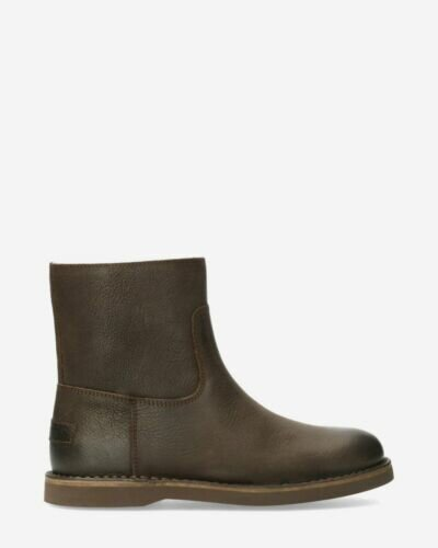 Lined ankle boot waxed structure leather brown