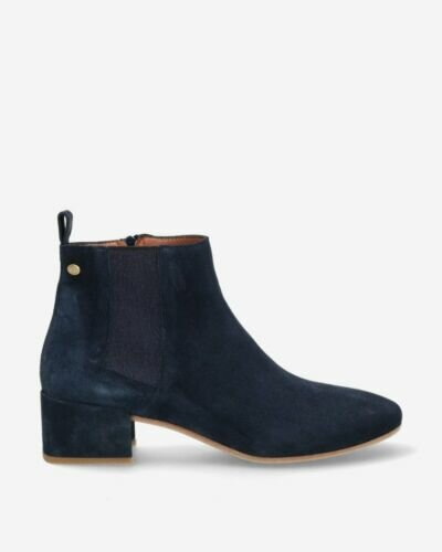 Suede ankle boot navy blue