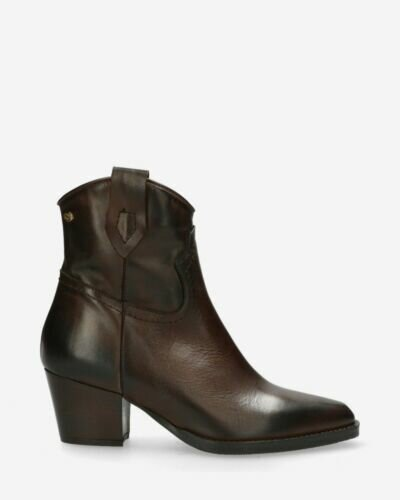 Western ankle boot smooth leather dark brown