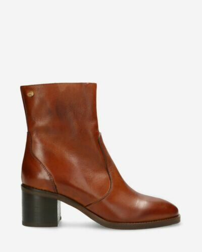 Heeled ankle boot soft smooth leather brown