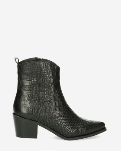 Western boot printed leather black