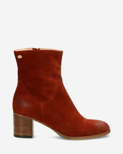 Heeled ankle boot suede brick brown