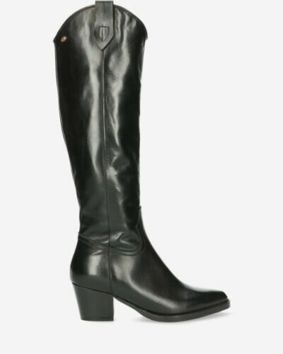 Western boot soft smooth leather black
