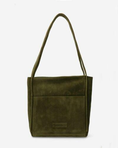 Shoulder bag waxed suede olive
