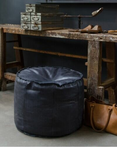 POUF GINGER HAND BUFFED LEATHER Super Black
