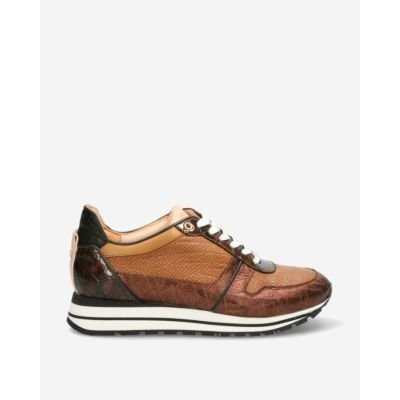 Sneaker-shiny-printed-leather-cognac-