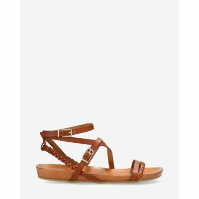Sandal-with-cork-footbed-natural-dyed-smooth-leather-Cognac