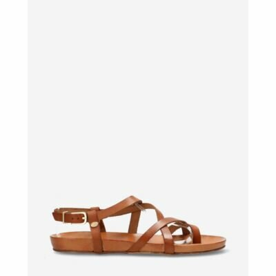 Sandal-with-covered-footbed-natural-dyed-smooth-leather-Cognac