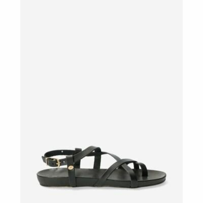 Sandal-with-covered-footbed-natural-dyed-smooth-leather-Black