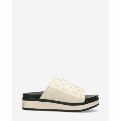 Shabbies Amsterdam Sandals woven tanned leather with off-white straps
