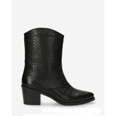 Western-ankle-boot-printed-leather-black