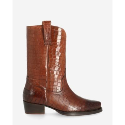 Western-boot-printed-leather-brown