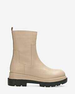 Ankle boot smooth leather light grey
